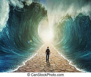água, andar, através