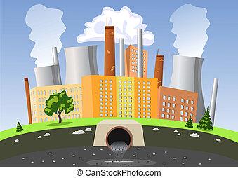 água, ar, fábrica, poluição