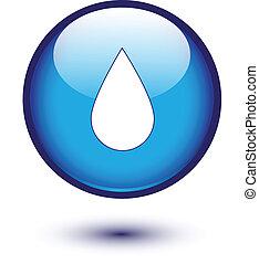 água azul, botão, gota