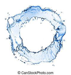 água, branca, respingo, isolado, redondo
