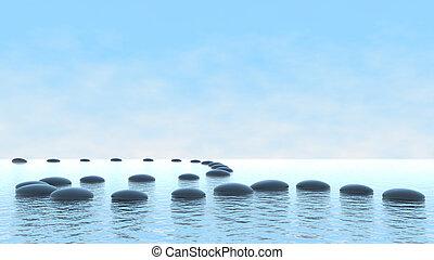 água, caminho, concept., harmonia, seixo