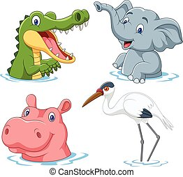 água, caricatura, safari, animal