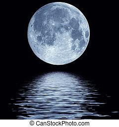água, cheio, sobre, lua