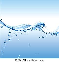água, claro, bolhas, onda