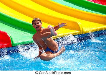 água, criança, aquapark, escorregar