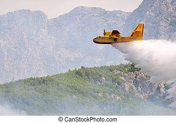 água, droping, fogo, avião