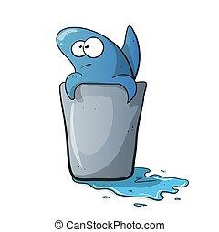 água, engraçado, tubarão, caricatura, cute