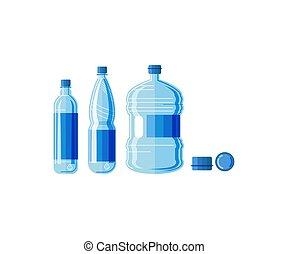 água, garrafa plástico, isolado, jogo
