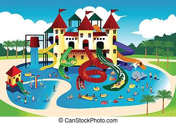 água, ir, parque, pessoas