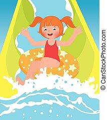 água, menina, parque, tocando, crianças