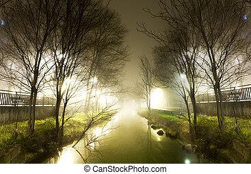 água, noturna, canal