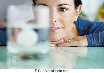 água, olhar, aspirina, mulher, vidro