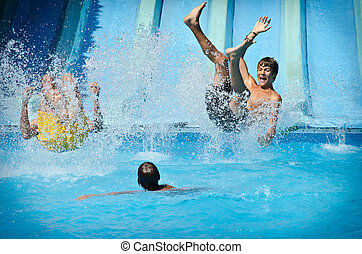 água, pessoas, parque, aqua, jovem, deslizamentos, divertimento, tendo