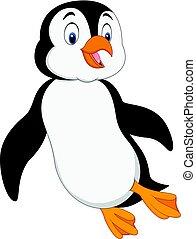 água, pingüim, natação, caricatura, sob