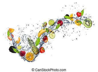 água, respingo, mistura, fruta, fundo, isolado, branca