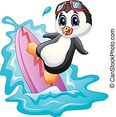 água, surfando, caricatura, pingüim