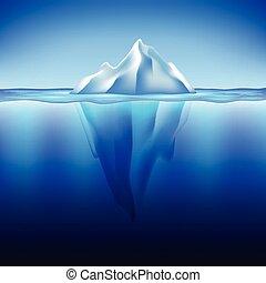 água, vetorial, iceberg, fundo