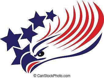 águia, americano, calvo, bandeira, logotipo
