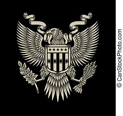 águia, americano, emblema