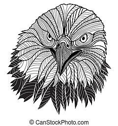 águia, cabeça, emblema, eua, símbolo, calvo, ou, tal, logo., desenho, mascote