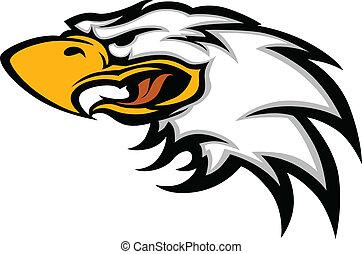 águia, cabeça, gráfico, mascote
