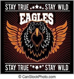 águia, cabeça, gráfico, modelo, logotipo, falcão, mascote