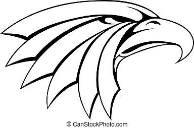 águia, cabeça, ilustração