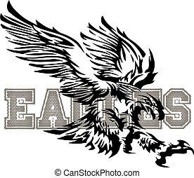 águia, desenho, mascote