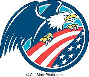 águia, eua, embrear, calvo, bandeira americana, retro, círculo