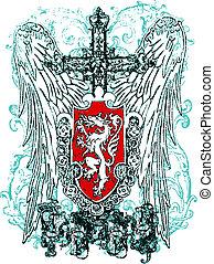 águia, heraldic, crista, crucifixos