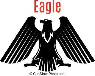águia, heraldic, sinal, vetorial, pretas, gótico, ícone