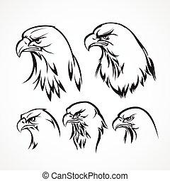 águia, ilustração, silhouette., vetorial, emblema, template.