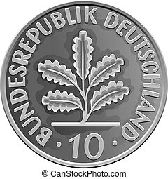 águia, ouro, dinheiro, heraldic, vetorial, alemanha, moeda