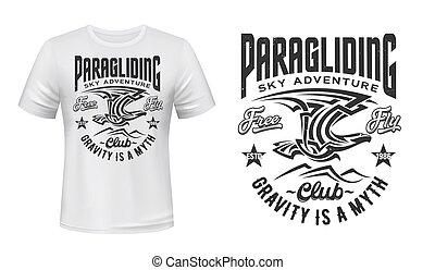 águia, paragliding, impressão, clube, vetorial, t-shirt