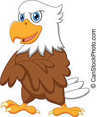 águia, posar, cute, caricatura