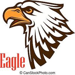 águia, vetorial, emblema, esboço, cabeça
