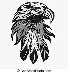 águia, vetorial, penas, cabeça, tribal