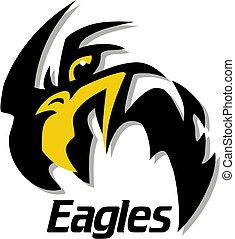 águias, desenho, mascote