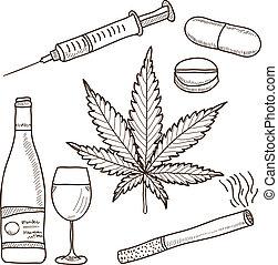 álcool, marijuana, -, ilustração, narcóticos, outro