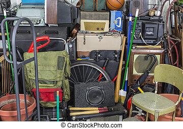 área, confusão, pilha, vindima, rummage, armazenamento