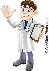 área de transferência, caricatura, segurando, doutor