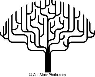 árvore, abstratos, silueta, ilustração