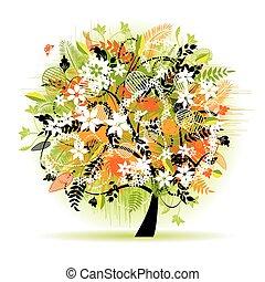 árvore, bonito, floral