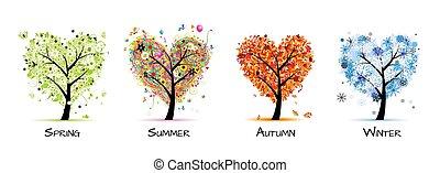 árvore, bonito, -, primavera, verão, quatro estações, seu, desenho, arte, outono, winter.