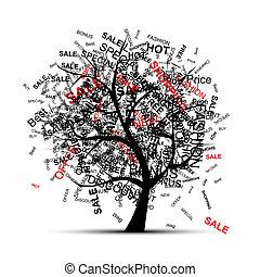 árvore, desenho, conceito, shopping, seu