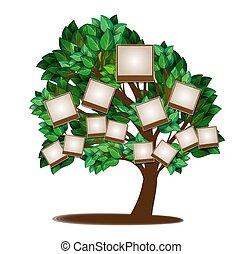 árvore, desenho, família, modelo