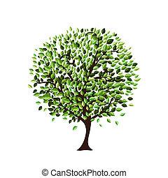árvore, desenho, isolado, seu