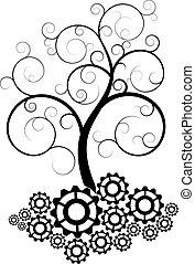 árvore, engrenagem, espiral