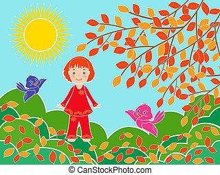 árvore, ensolarado, outono, pequeno, menina, dia