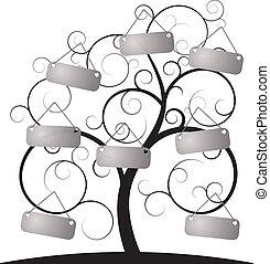árvore, espiral, etiqueta